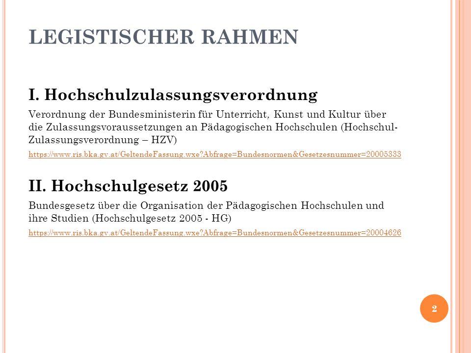 LEGISTISCHER RAHMEN I.