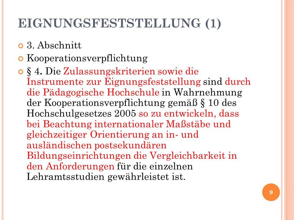 EIGNUNGSFESTSTELLUNG (1) 3. Abschnitt Kooperationsverpflichtung § 4.