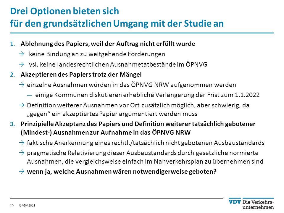 © VDV 2015 Drei Optionen bieten sich für den grundsätzlichen Umgang mit der Studie an 1.