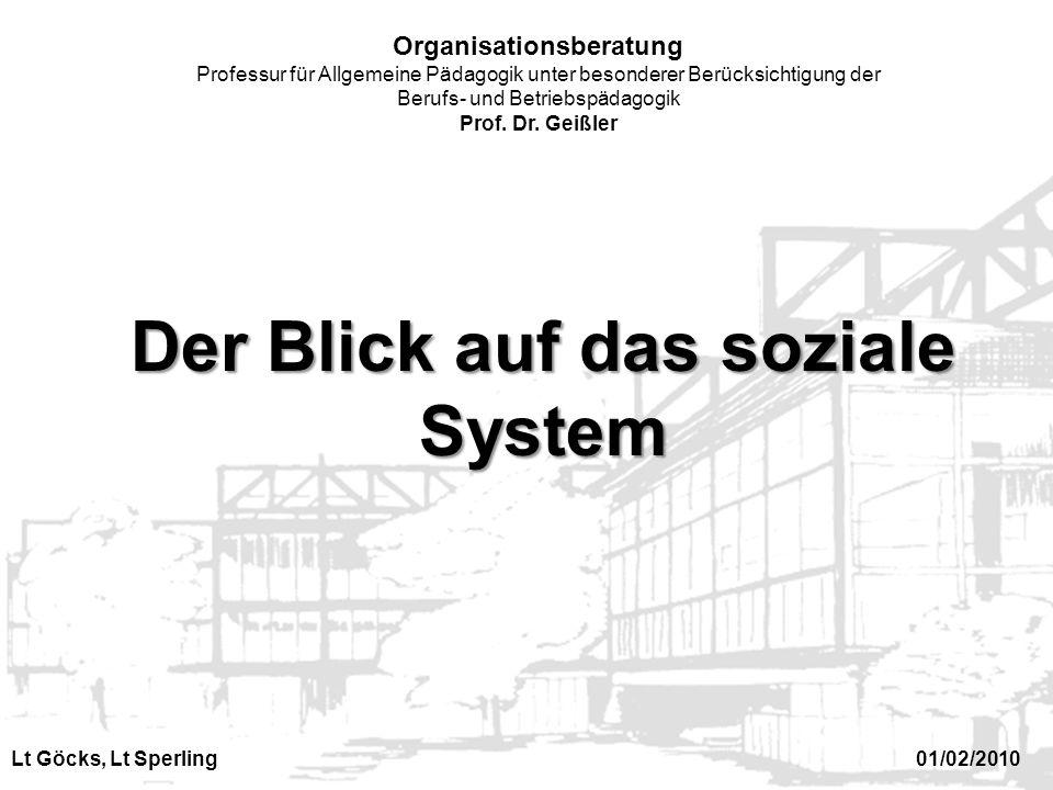 Organisationsberatung Professur für Allgemeine Pädagogik unter besonderer Berücksichtigung der Berufs- und Betriebspädagogik Prof. Dr. Geißler Der Bli