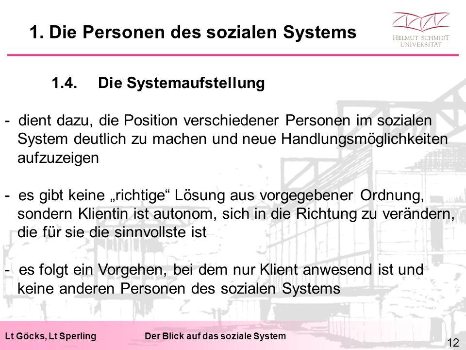 Lt Göcks, Lt SperlingDer Blick auf das soziale System 1.4.Die Systemaufstellung - dient dazu, die Position verschiedener Personen im sozialen System d
