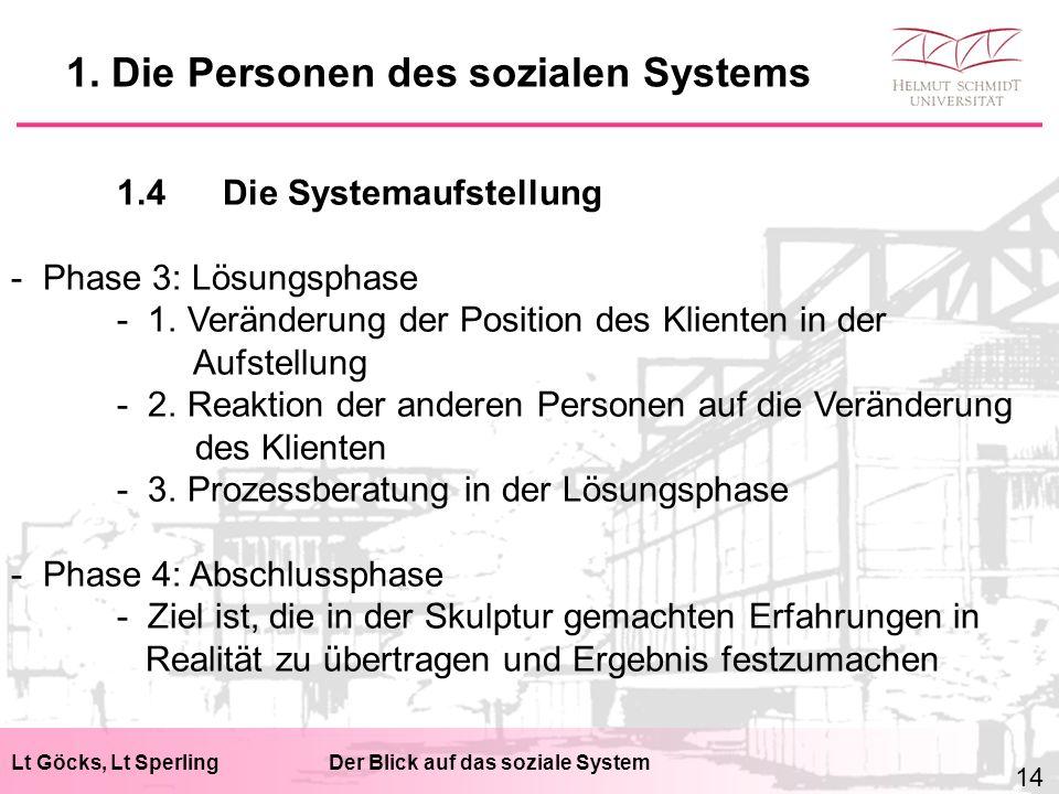 Lt Göcks, Lt SperlingDer Blick auf das soziale System 1.4Die Systemaufstellung - Phase 3: Lösungsphase - 1. Veränderung der Position des Klienten in d