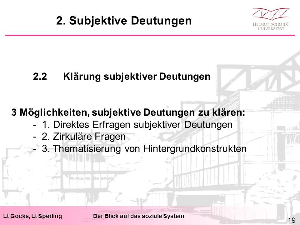 Lt Göcks, Lt SperlingDer Blick auf das soziale System 2.2Klärung subjektiver Deutungen 3 Möglichkeiten, subjektive Deutungen zu klären: - 1.