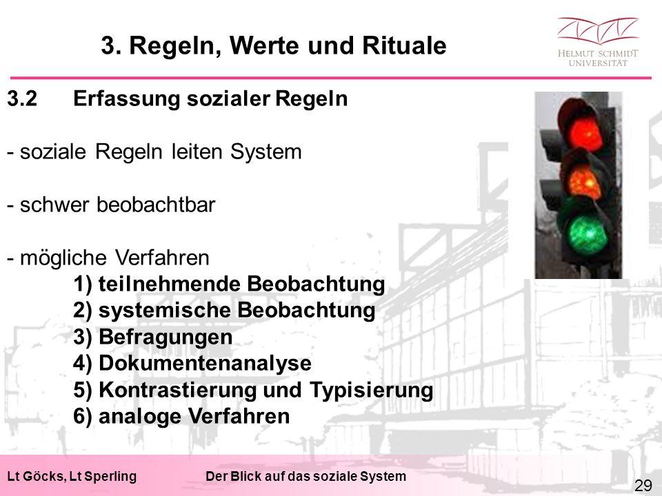 Lt Göcks, Lt SperlingDer Blick auf das soziale System 3.2Erfassung sozialer Regeln - soziale Regeln leiten System - schwer beobachtbar - mögliche Verfahren 1) teilnehmende Beobachtung 2) systemische Beobachtung 3) Befragungen 4) Dokumentenanalyse 5) Kontrastierung und Typisierung 6) analoge Verfahren 3.