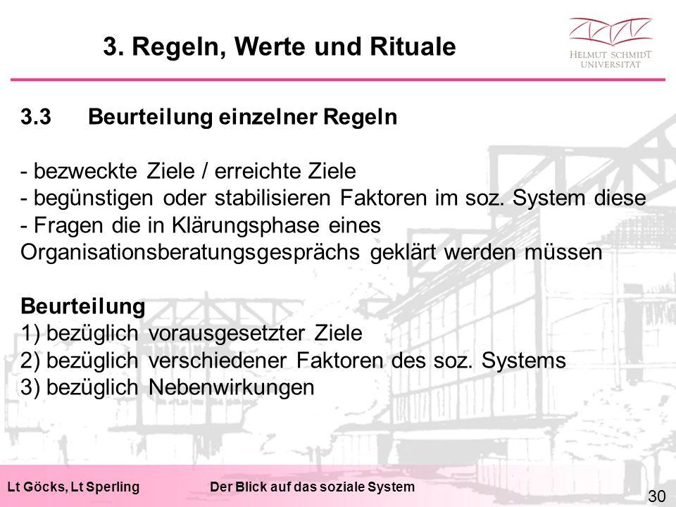 Lt Göcks, Lt SperlingDer Blick auf das soziale System 3.3Beurteilung einzelner Regeln - bezweckte Ziele / erreichte Ziele - begünstigen oder stabilisieren Faktoren im soz.