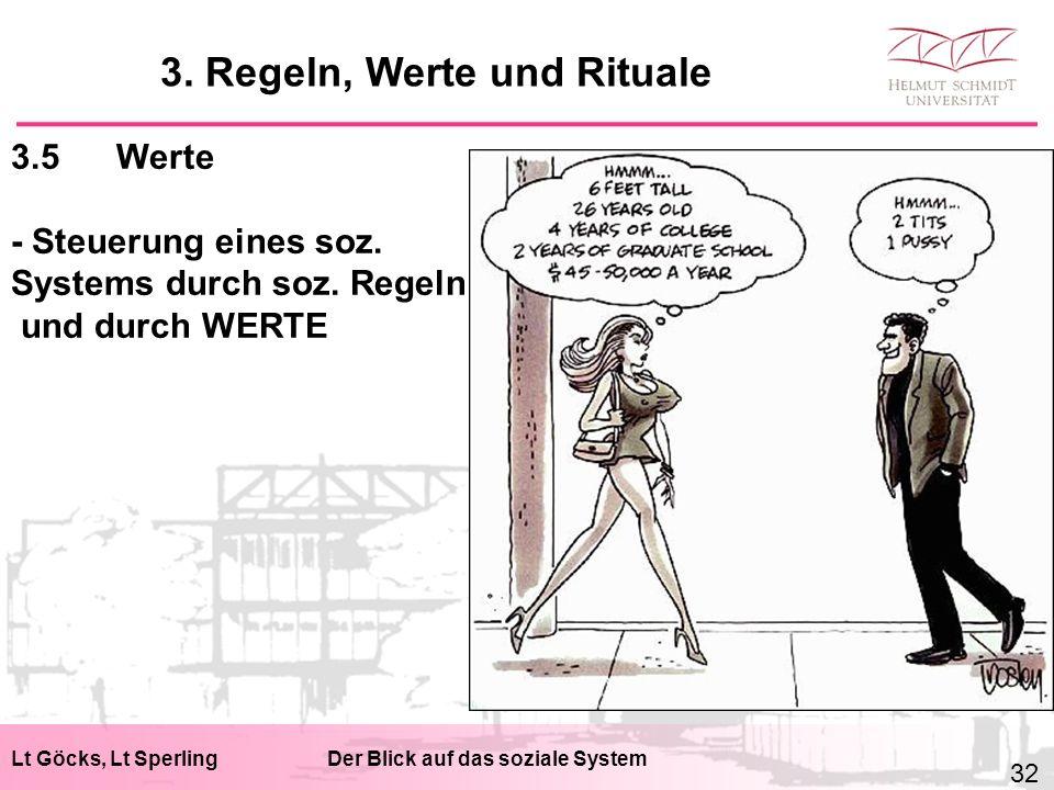 Lt Göcks, Lt SperlingDer Blick auf das soziale System 3.5Werte - Steuerung eines soz. Systems durch soz. Regeln und durch WERTE 3. Regeln, Werte und R