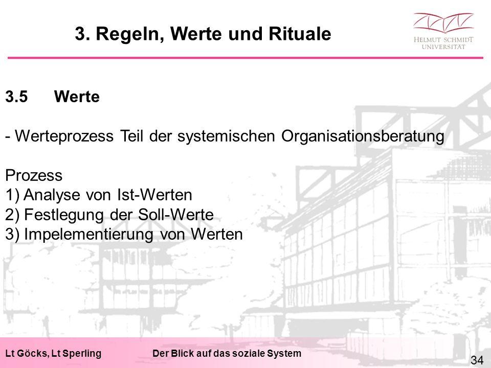 Lt Göcks, Lt SperlingDer Blick auf das soziale System 3.5Werte - Werteprozess Teil der systemischen Organisationsberatung Prozess 1) Analyse von Ist-Werten 2) Festlegung der Soll-Werte 3) Impelementierung von Werten 3.