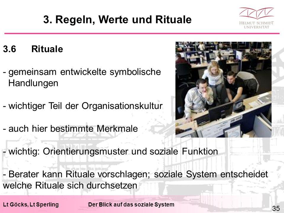 Lt Göcks, Lt SperlingDer Blick auf das soziale System 3.6Rituale - gemeinsam entwickelte symbolische Handlungen - wichtiger Teil der Organisationskult
