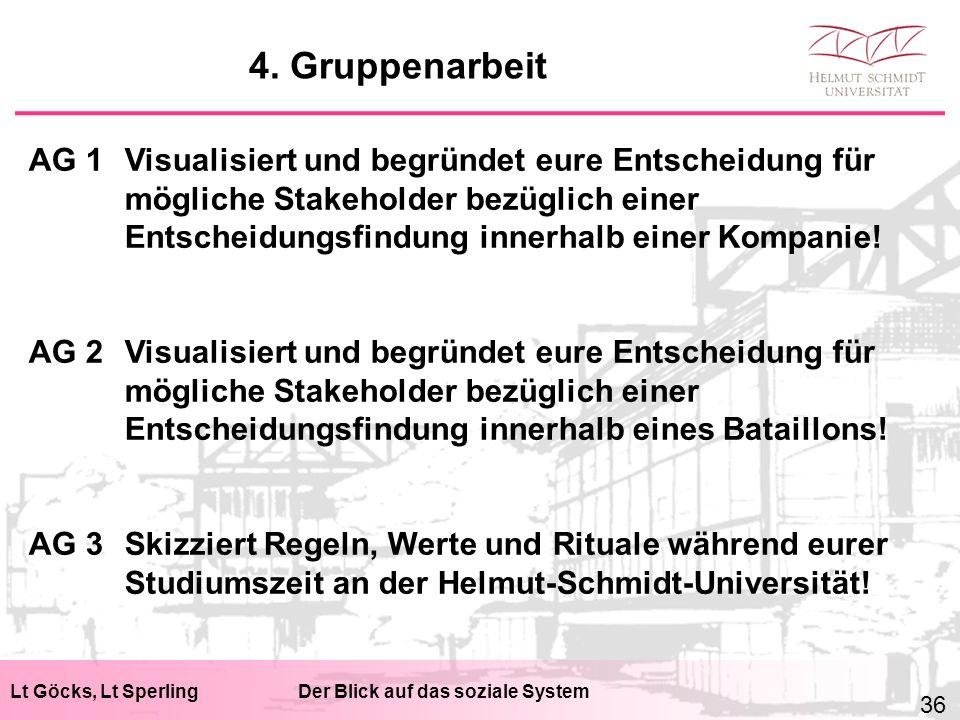 Lt Göcks, Lt SperlingDer Blick auf das soziale System AG 1Visualisiert und begründet eure Entscheidung für mögliche Stakeholder bezüglich einer Entsch