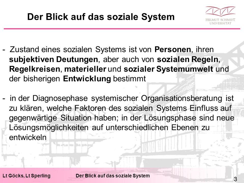 Lt Göcks, Lt SperlingDer Blick auf das soziale System - Zustand eines sozialen Systems ist von Personen, ihren subjektiven Deutungen, aber auch von so
