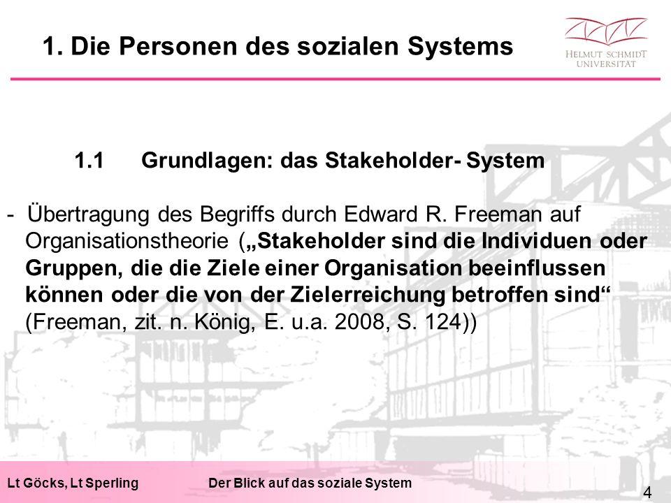Lt Göcks, Lt SperlingDer Blick auf das soziale System 1.1Grundlagen: das Stakeholder- System - Übertragung des Begriffs durch Edward R.