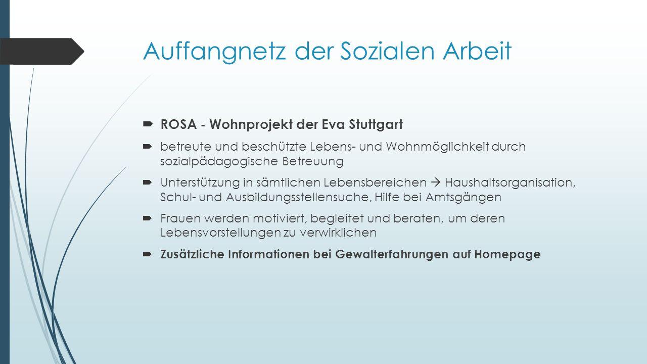 Auffangnetz der Sozialen Arbeit  ROSA - Wohnprojekt der Eva Stuttgart  betreute und beschützte Lebens- und Wohnmöglichkeit durch sozialpädagogische Betreuung  Unterstützung in sämtlichen Lebensbereichen  Haushaltsorganisation, Schul- und Ausbildungsstellensuche, Hilfe bei Amtsgängen  Frauen werden motiviert, begleitet und beraten, um deren Lebensvorstellungen zu verwirklichen  Zusätzliche Informationen bei Gewalterfahrungen auf Homepage