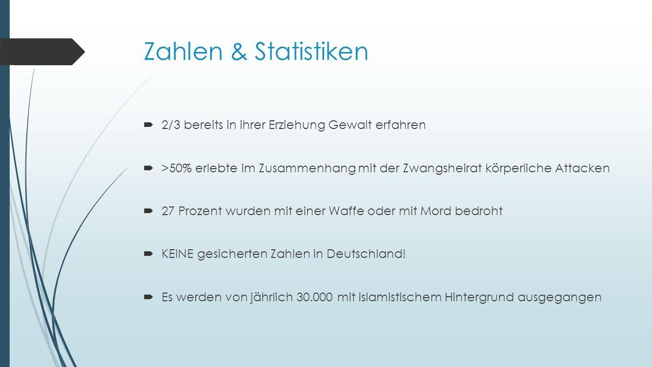 Zahlen & Statistiken  2/3 bereits in ihrer Erziehung Gewalt erfahren  >50% erlebte im Zusammenhang mit der Zwangsheirat körperliche Attacken  27 Prozent wurden mit einer Waffe oder mit Mord bedroht  KEINE gesicherten Zahlen in Deutschland.