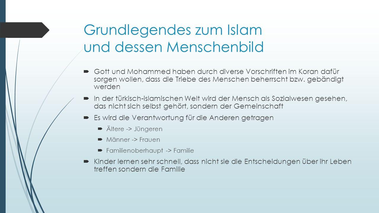 Grundlegendes zum Islam und dessen Menschenbild  Gott und Mohammed haben durch diverse Vorschriften im Koran dafür sorgen wollen, dass die Triebe des Menschen beherrscht bzw.