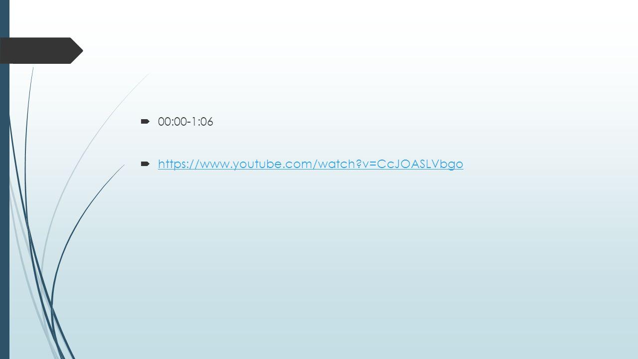 00:00-1:06  https://www.youtube.com/watch?v=CcJOASLVbgo https://www.youtube.com/watch?v=CcJOASLVbgo