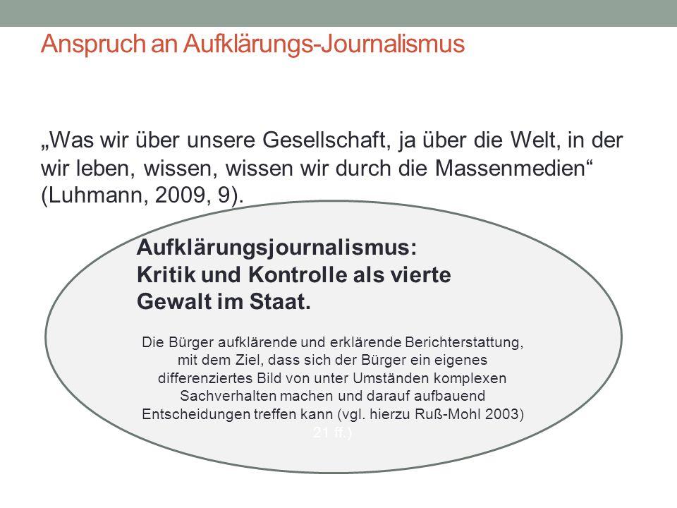 """Anspruch an Aufklärungs-Journalismus """" Was wir über unsere Gesellschaft, ja über die Welt, in der wir leben, wissen, wissen wir durch die Massenmedien"""