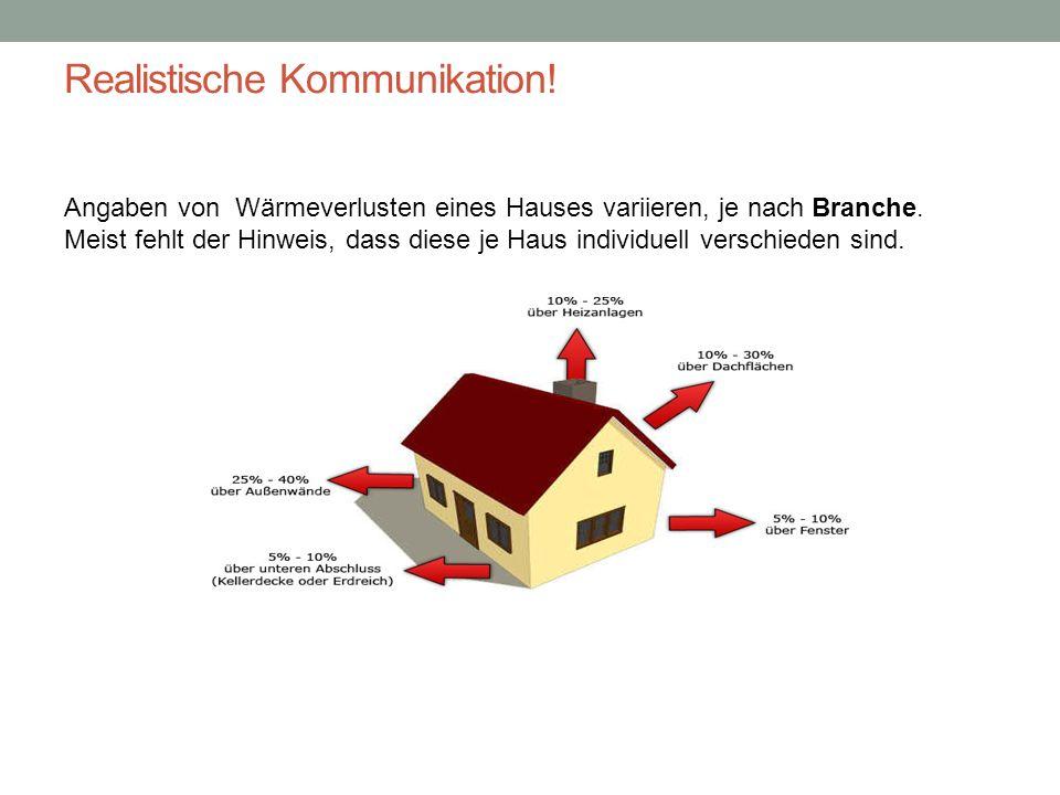 Realistische Kommunikation! Angaben von Wärmeverlusten eines Hauses variieren, je nach Branche. Meist fehlt der Hinweis, dass diese je Haus individuel
