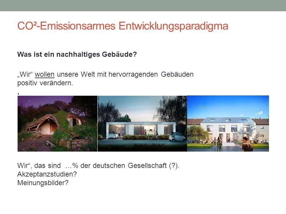 """CO²-Emissionsarmes Entwicklungsparadigma Was ist ein nachhaltiges Gebäude? """"Wir"""" wollen unsere Welt mit hervorragenden Gebäuden positiv verändern.. """"W"""