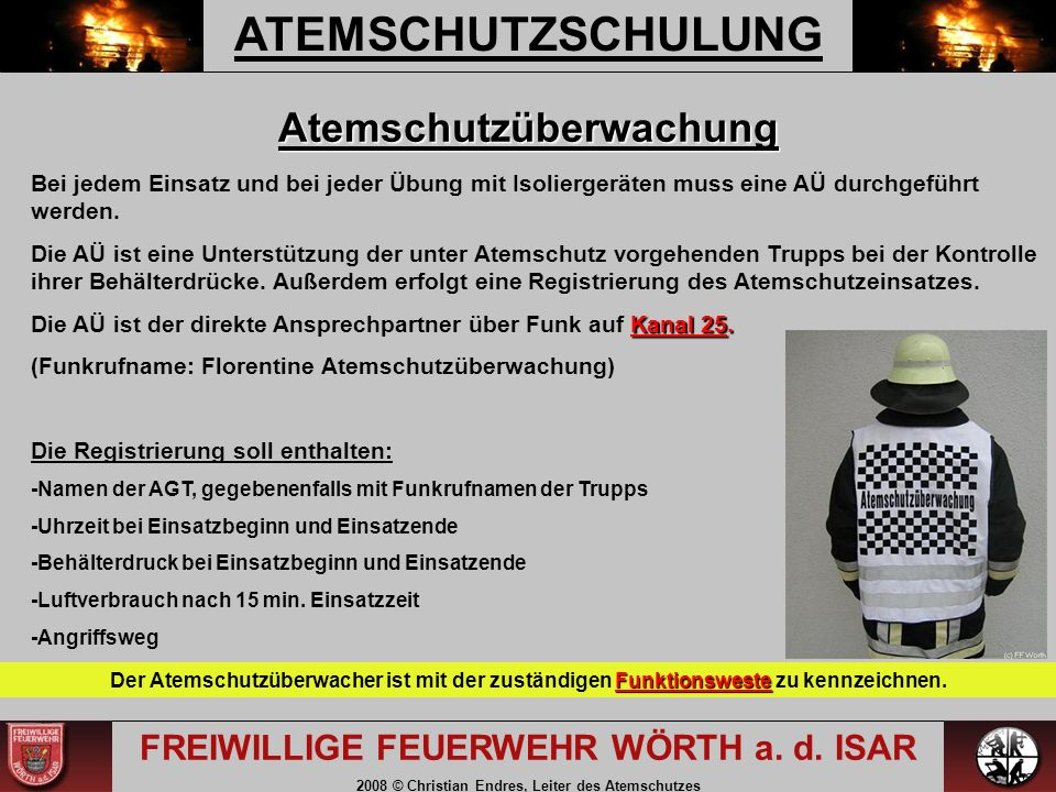 ATEMSCHUTZSCHULUNG FREIWILLIGE FEUERWEHR WÖRTH a. d.