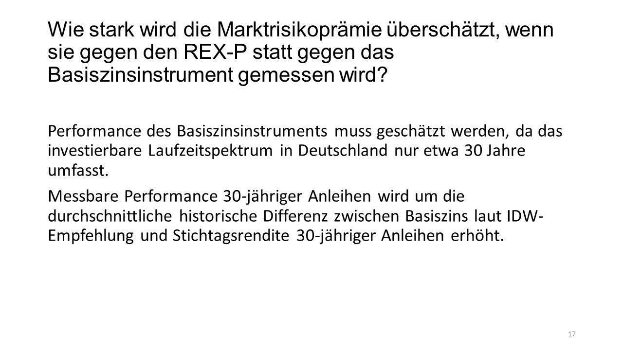 Wie stark wird die Marktrisikoprämie überschätzt, wenn sie gegen den REX-P statt gegen das Basiszinsinstrument gemessen wird.