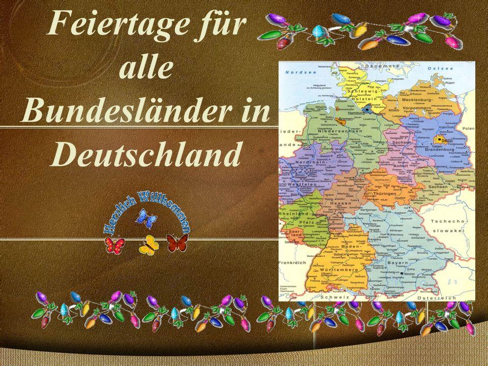 Feiertage für alle Bundesländer in Deutschland