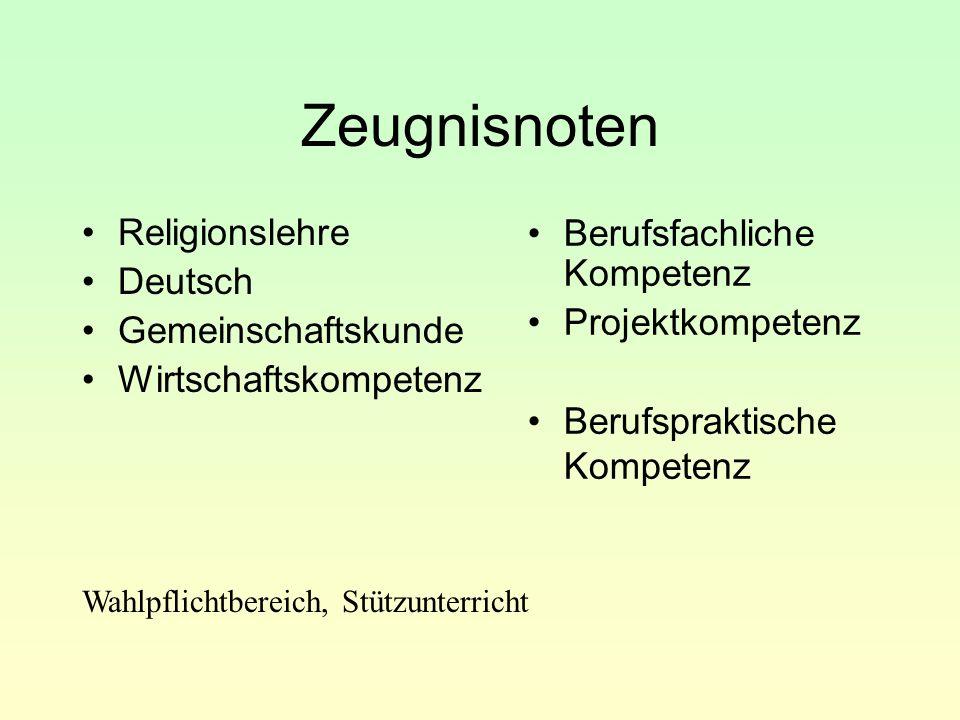 Zeugnisnoten Religionslehre Deutsch Gemeinschaftskunde Wirtschaftskompetenz Berufsfachliche Kompetenz Projektkompetenz Berufspraktische Kompetenz Wahl