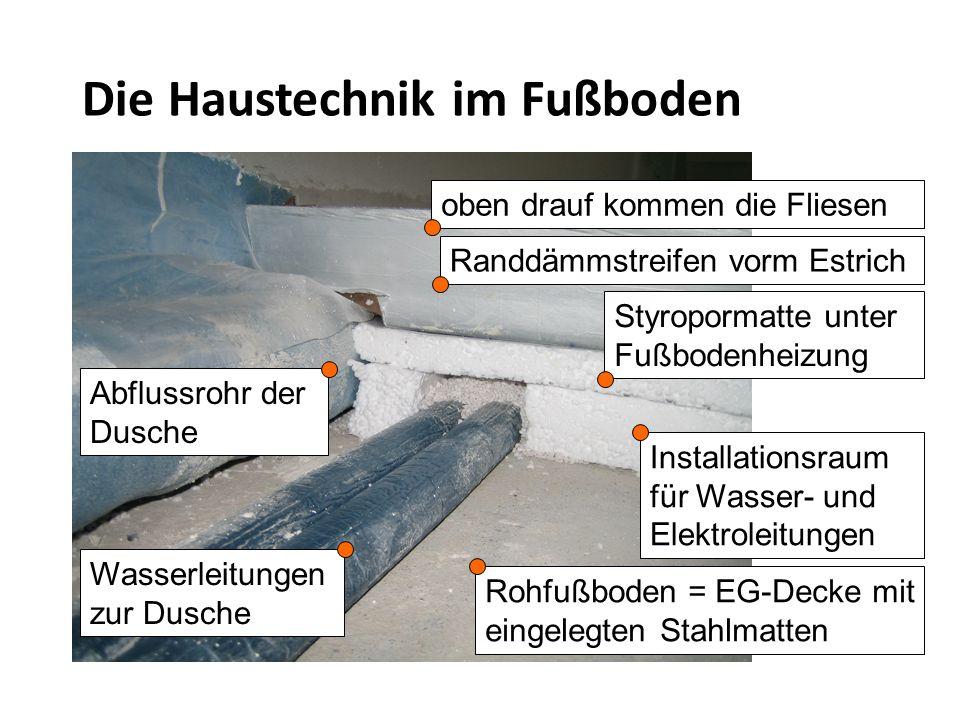 Installationsraum für Wasser- und Elektroleitungen Rohfußboden = EG-Decke mit eingelegten Stahlmatten Styropormatte unter Fußbodenheizung Randdämmstreifen vorm Estrich oben drauf kommen die Fliesen Abflussrohr der Dusche Die Haustechnik im Fußboden Wasserleitungen zur Dusche