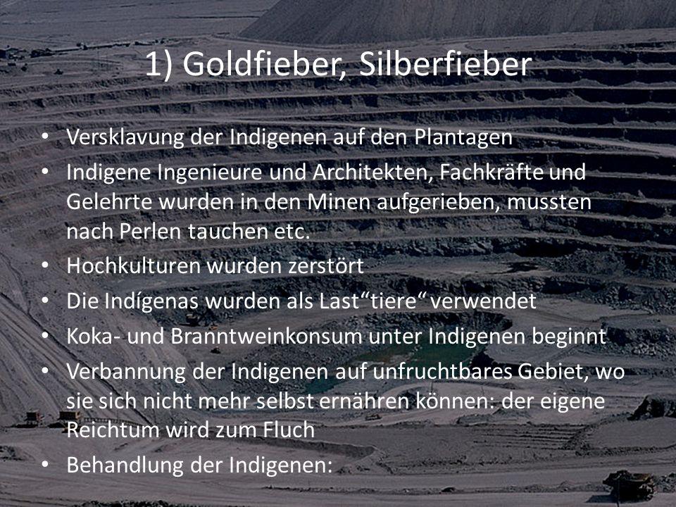 1) Goldfieber, Silberfieber Versklavung der Indigenen auf den Plantagen Indigene Ingenieure und Architekten, Fachkräfte und Gelehrte wurden in den Minen aufgerieben, mussten nach Perlen tauchen etc.