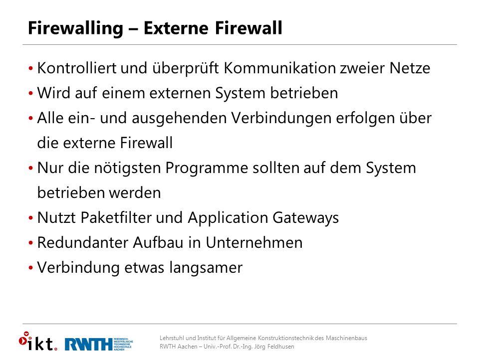 Lehrstuhl und Institut für Allgemeine Konstruktionstechnik des Maschinenbaus RWTH Aachen – Univ.-Prof. Dr.-Ing. Jörg Feldhusen Firewalling – Externe F