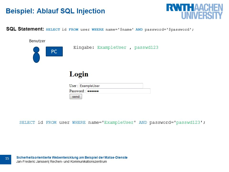 Sicherheitsorientierte Webentwicklung am Beispiel der Matse-Dienste Jan-Frederic Janssen| Rechen- und Kommunikationszentrum 15 Beispiel: Ablauf SQL Injection SQL Statement: SELECT id FROM user WHERE name= $name AND password= $password ; Benutzer PC Eingabe: ExampleUser, passwd123 SELECT id FROM user WHERE name= ExampleUser AND password= passwd123 ;