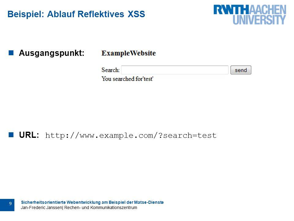 Sicherheitsorientierte Webentwicklung am Beispiel der Matse-Dienste Jan-Frederic Janssen| Rechen- und Kommunikationszentrum 10 Beispiel: Ablauf Reflektives XSS Manipulierte Webseite: URL: http://www.example.com/?search= +Please+Login+to+ continue%3A+ + Username%3A+ + +Password%3A+ + + + +