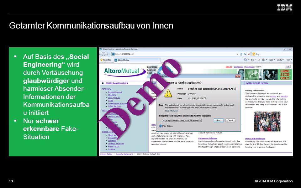 """© 2012 IBM Corporation © 2014 IBM Corporation Getarnter Kommunikationsaufbau von Innen  Auf Basis des """"Social Engineering wird durch Vortäuschung glaubwürdiger und harmloser Absender- Informationen der Kommunikationsaufba u initiiert  Nur schwer erkennbare Fake- Situation Demo 13"""