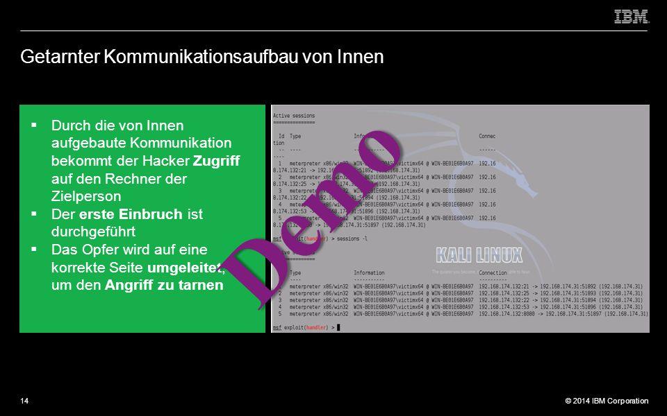 © 2012 IBM Corporation © 2014 IBM Corporation Getarnter Kommunikationsaufbau von Innen  Durch die von Innen aufgebaute Kommunikation bekommt der Hacker Zugriff auf den Rechner der Zielperson  Der erste Einbruch ist durchgeführt  Das Opfer wird auf eine korrekte Seite umgeleitet, um den Angriff zu tarnen Demo 14