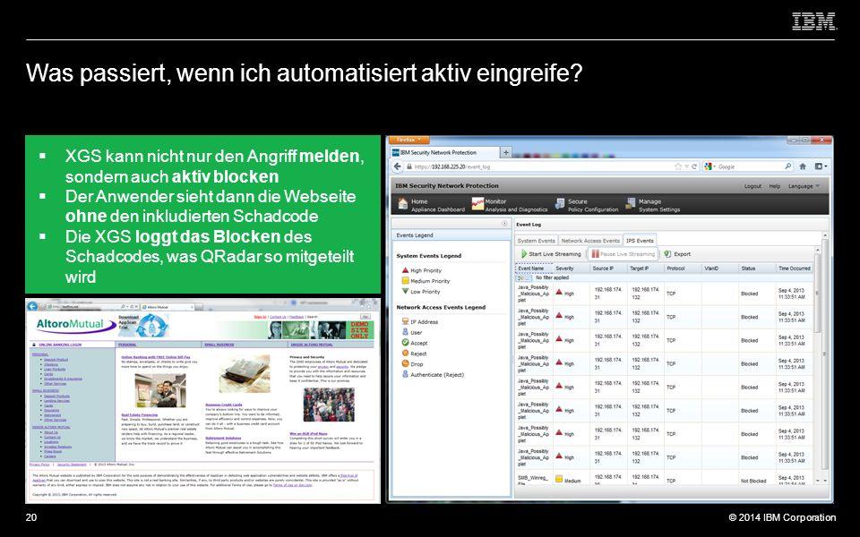 © 2012 IBM Corporation © 2014 IBM Corporation Was passiert, wenn ich automatisiert aktiv eingreife.
