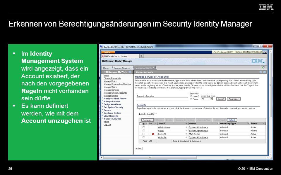 © 2012 IBM Corporation © 2014 IBM Corporation Erkennen von Berechtigungsänderungen im Security Identity Manager  Im Identity Management System wird angezeigt, dass ein Account existiert, der nach den vorgegebenen Regeln nicht vorhanden sein dürfte  Es kann definiert werden, wie mit dem Account umzugehen ist 25