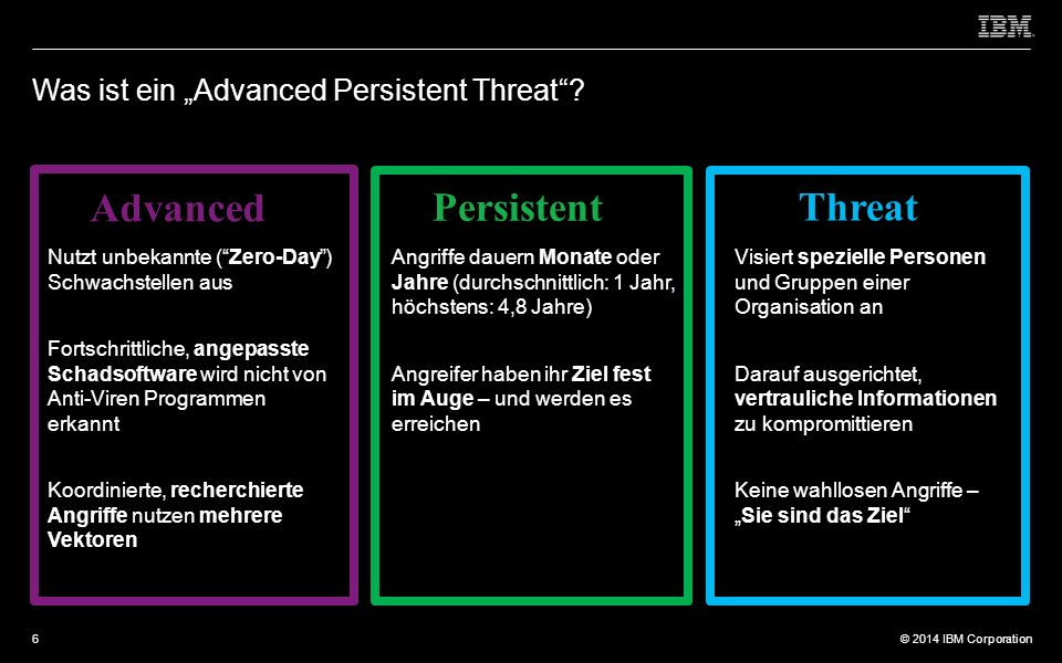 "© 2012 IBM Corporation © 2014 IBM Corporation Was ist ein ""Advanced Persistent Threat ."