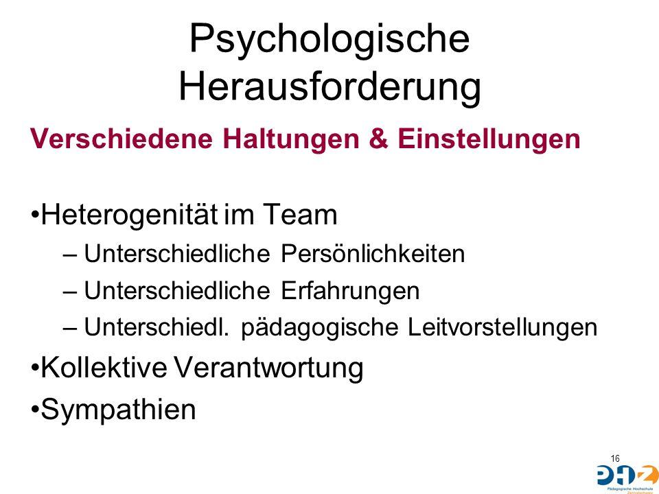 Psychologische Herausforderung Verschiedene Haltungen & Einstellungen Heterogenität im Team –Unterschiedliche Persönlichkeiten –Unterschiedliche Erfah