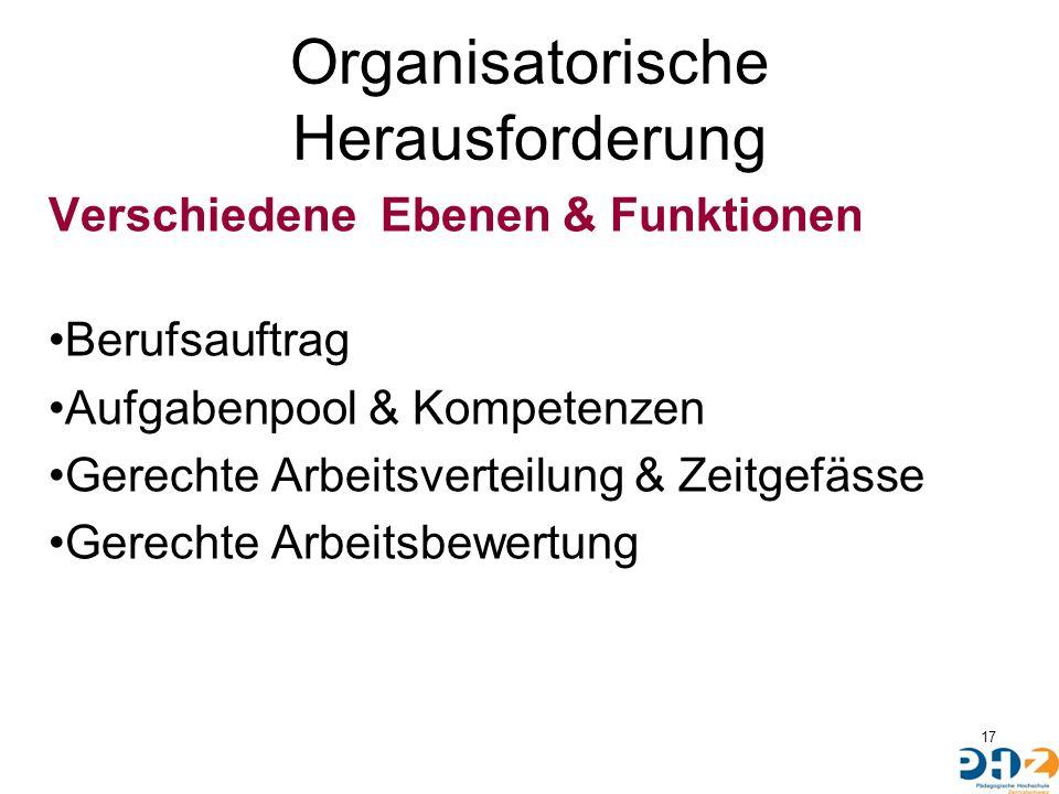 Organisatorische Herausforderung Verschiedene Ebenen & Funktionen Berufsauftrag Aufgabenpool & Kompetenzen Gerechte Arbeitsverteilung & Zeitgefässe Ge