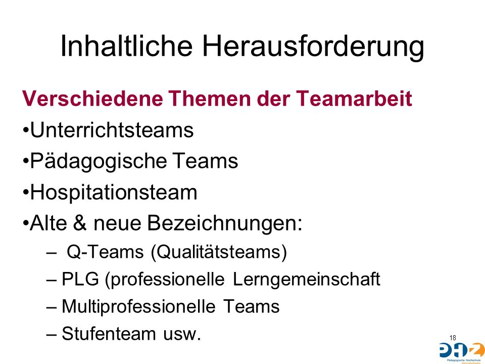 Inhaltliche Herausforderung Verschiedene Themen der Teamarbeit Unterrichtsteams Pädagogische Teams Hospitationsteam Alte & neue Bezeichnungen: – Q-Teams (Qualitätsteams) –PLG (professionelle Lerngemeinschaft –Multiprofessionelle Teams –Stufenteam usw.