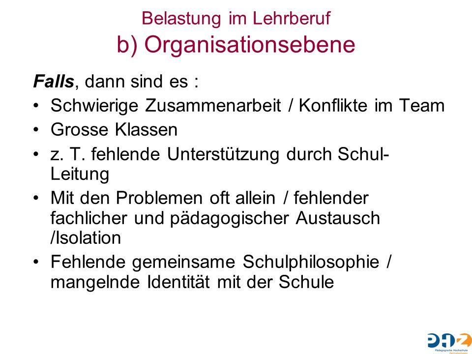 Belastung im Lehrberuf b) Organisationsebene Falls, dann sind es : Schwierige Zusammenarbeit / Konflikte im Team Grosse Klassen z. T. fehlende Unterst