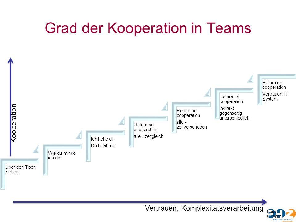 Grad der Kooperation in Teams Über den Tisch ziehen Wie du mir so ich dir Ich helfe dir Du hilfst mir Return on cooperation alle - zeitgleich Return o