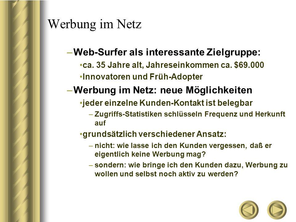 Werbung im Netz –Web-Surfer als interessante Zielgruppe: ca. 35 Jahre alt, Jahreseinkommen ca. $69.000 Innovatoren und Früh-Adopter –Werbung im Netz: