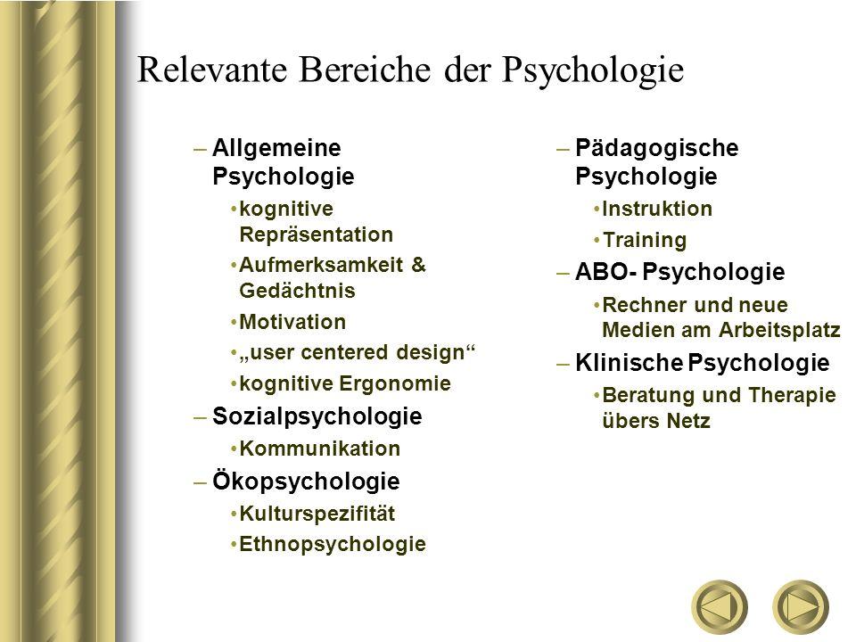 """Relevante Bereiche der Psychologie –Allgemeine Psychologie kognitive Repräsentation Aufmerksamkeit & Gedächtnis Motivation """"user centered design"""" kogn"""