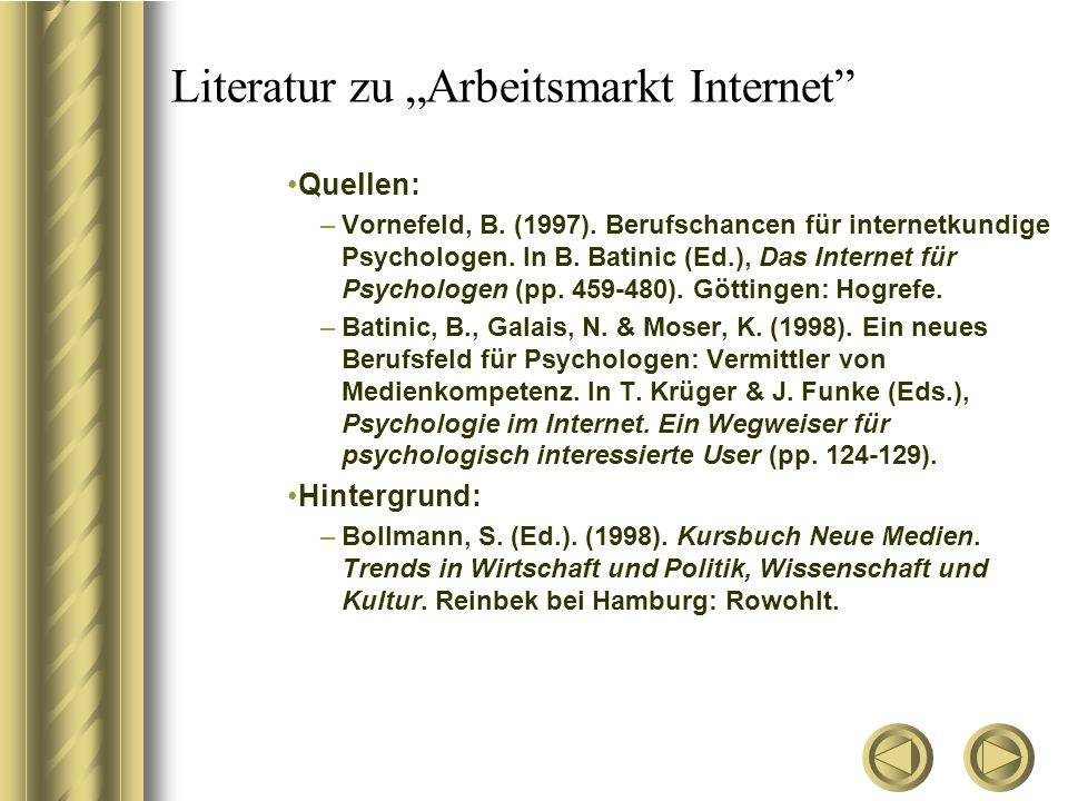 Literatur 2 Der Klassiker (gut, aber teuer): Batinic, B.