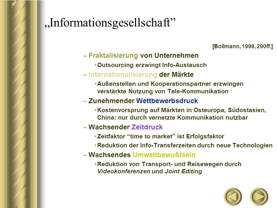 """""""Informationsgesellschaft"""" [Bollmann, 1998, 290ff.] –Fraktalisierung von Unternehmen Outsourcing erzwingt Info-Austausch –Internationalisierung der Mä"""
