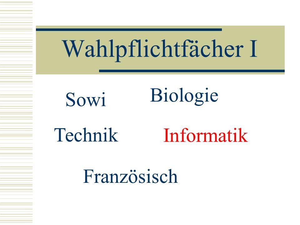 Wahlpflichtfächer I Sowi Technik Informatik Französisch Biologie