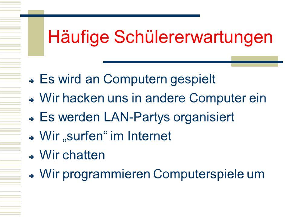 """Häufige Schülererwartungen  Es wird an Computern gespielt  Wir hacken uns in andere Computer ein  Es werden LAN-Partys organisiert  Wir """"surfen"""" i"""