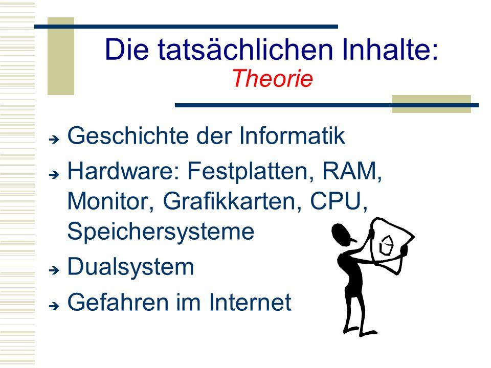 Die tatsächlichen Inhalte: Theorie  Geschichte der Informatik  Hardware: Festplatten, RAM, Monitor, Grafikkarten, CPU, Speichersysteme  Dualsystem