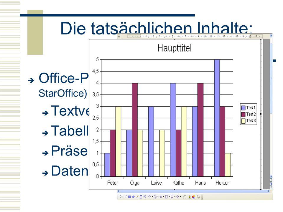 Die tatsächlichen Inhalte: Office-Anwendungen  Office-Paket (Open Office, Microsoft Office, StarOffice)  Textverarbeitung  Tabellenkalkulation  P