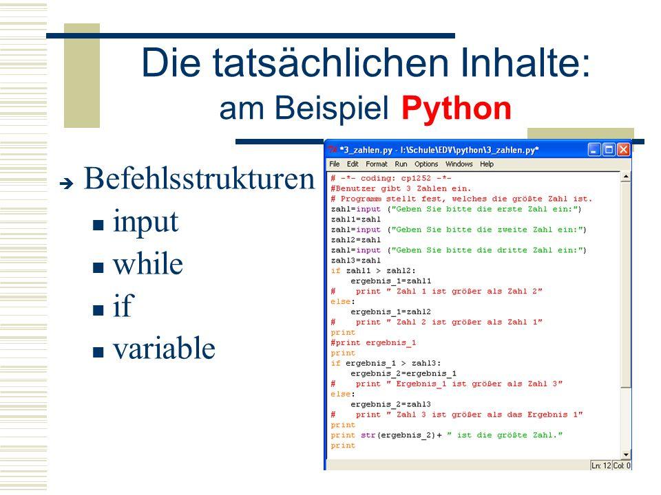 Die tatsächlichen Inhalte: am Beispiel Python  Befehlsstrukturen input while if variable